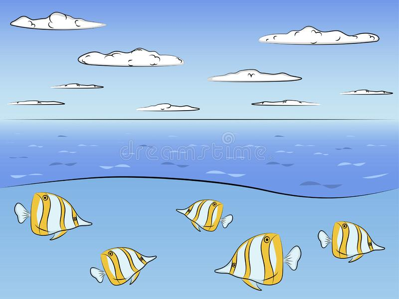 Ocean in the section. Fish Evistias. Raster. Illustration stock photo