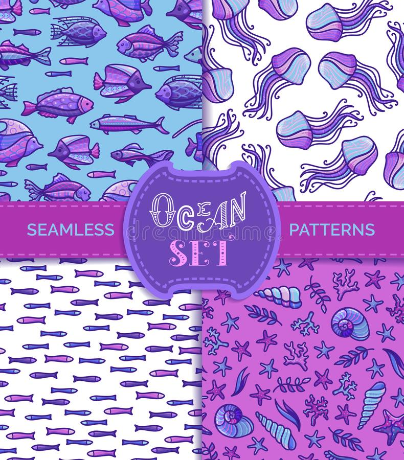 Ocean set of vector seamless underwater patterns. stock illustration