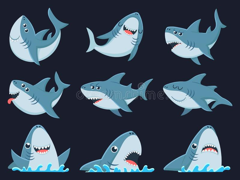 Ocean shark mascot. Scary sharks animals, smiling jaws and swimming shark cartoon vector illustration set. Ocean shark mascot. Scary sharks animals, smiling jaws vector illustration
