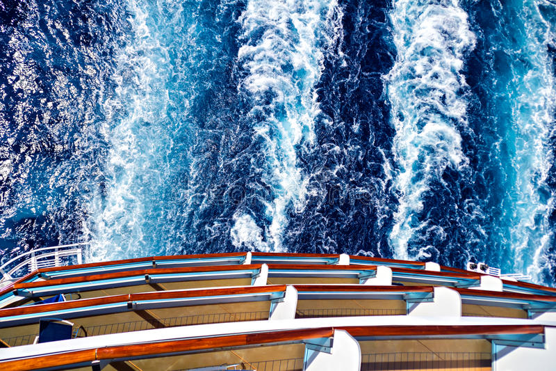Ocean ship wake trail. Cruise ship wake or trail on ocean surface royalty free stock images