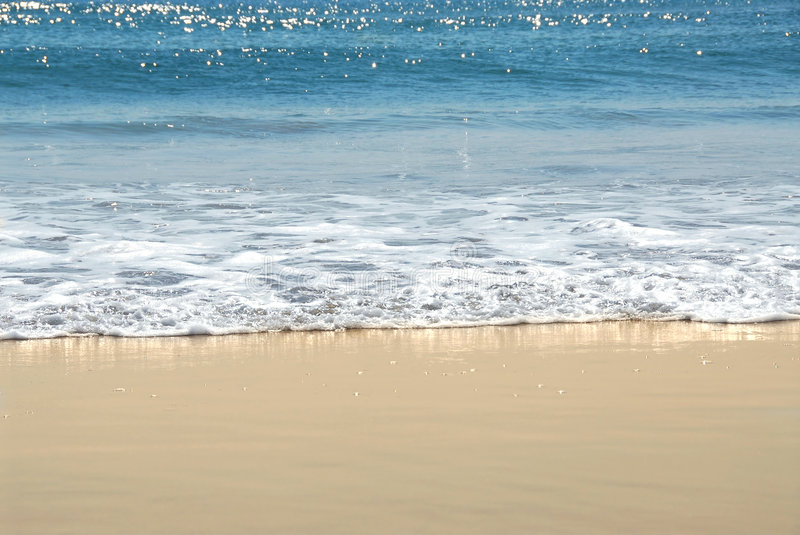 Ocean shore. With sandy beach and advancing wave royalty free stock image