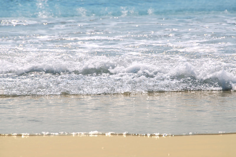 Ocean shore. With sandy beach and advancing wave stock photography
