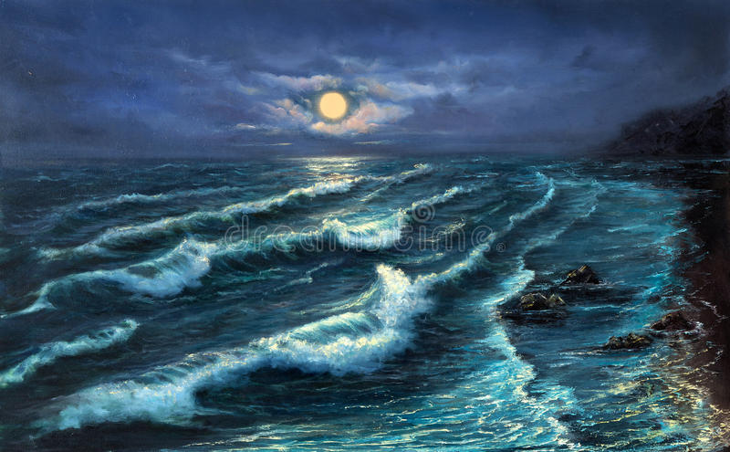 Ocean shore at night. Original oil painting showing ocean or sea,shore or beach at night on canvas.Night landscape with full moon. Modern Impressionism royalty free stock images