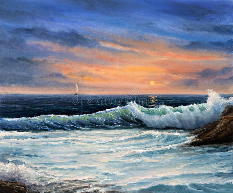 Ocean shore. Original oil painting showing ocean or sea,shore or beach on canvas. Modern Impressionism, modernism royalty free stock photo