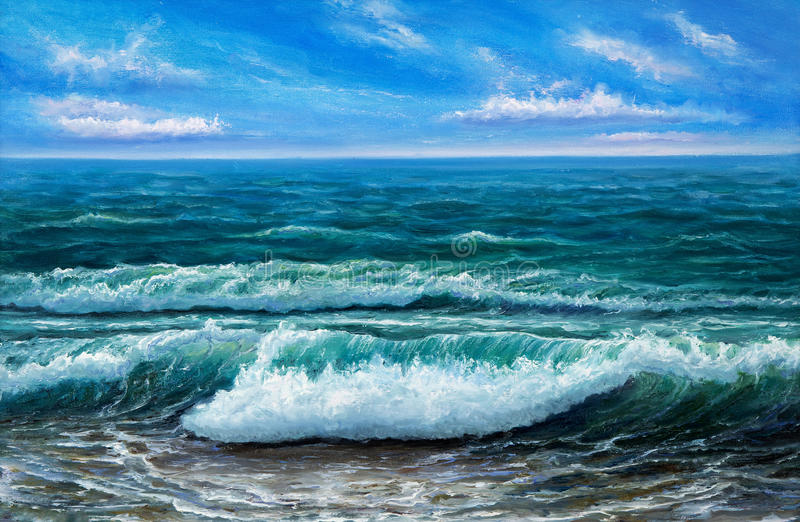 Ocean shore. Original oil painting showing ocean or sea,shore or beach on canvas. Modern Impressionism, modernism,marinism royalty free stock photo