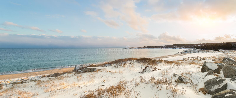 Ocean shore on a winter day. (Crystal Crescent Beach, Nova Scotia, Canada royalty free stock photos