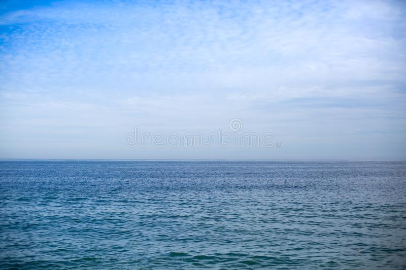Water and sky over Banderas Bay. Ocean and sky view from the Malecon, Puerto Vallarta, Jalisco, Mexico stock photo