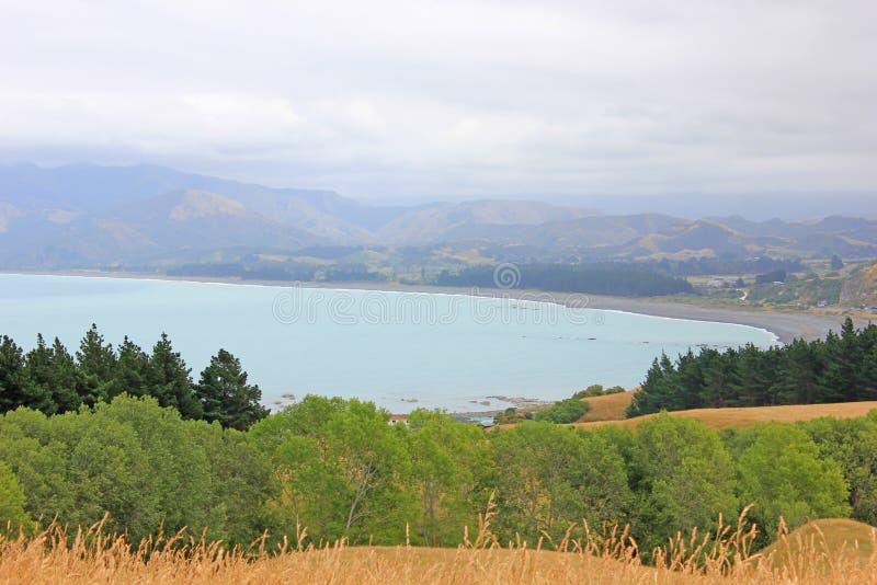 Ocean Spokojny widziany ze wzgórza w Kaikoura zdjęcia stock