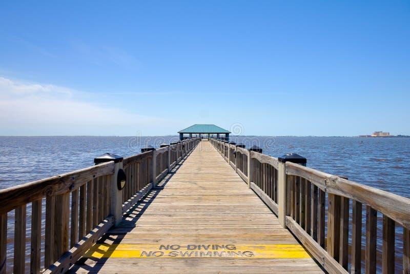 Ocean Springs Beach. Gulf coast beach in Ocean Springs, Mississippi royalty free stock photos