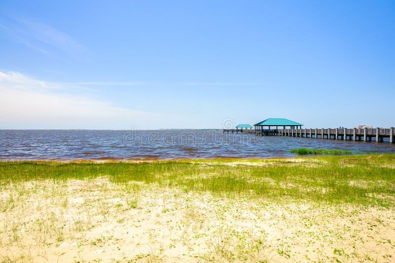 Ocean Springs Beach. Gulf coast beach in Ocean Springs, Mississippi stock images