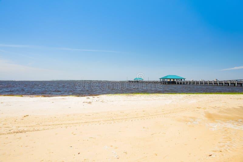 Ocean Springs Beach. Gulf coast beach in Ocean Springs, Mississippi stock image