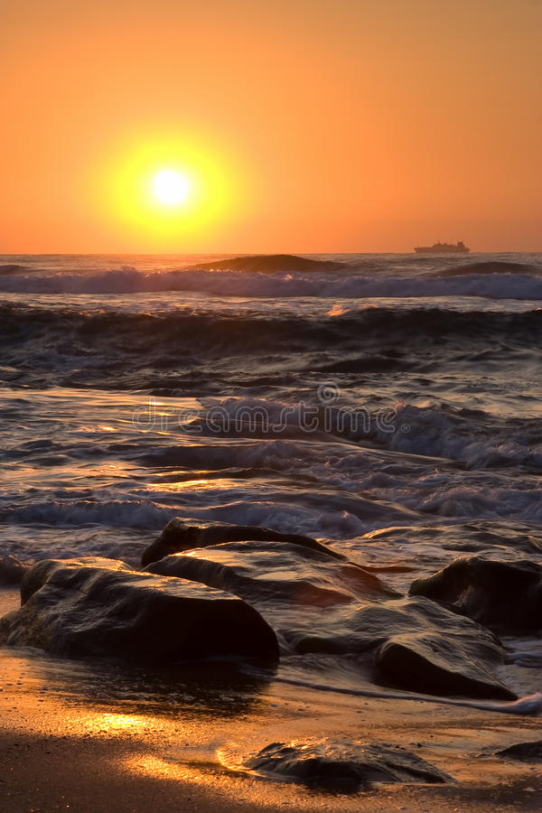 Download Ocean sunrise stock image. Image of waves, foam, africa - 13126623