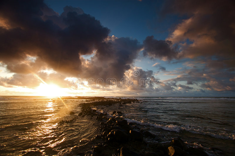 Download Ocean Sunrise stock image. Image of rocks, beach, hawaii - 5708915