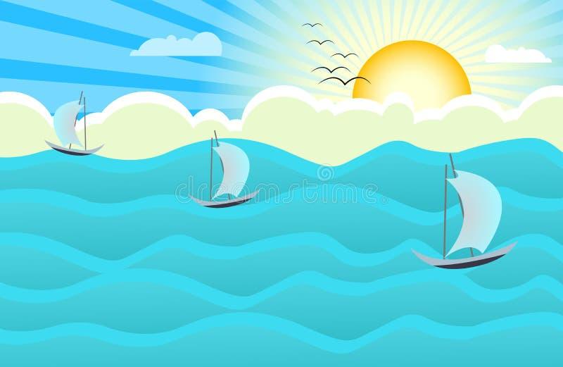 Ocean sunrise background vector illustration