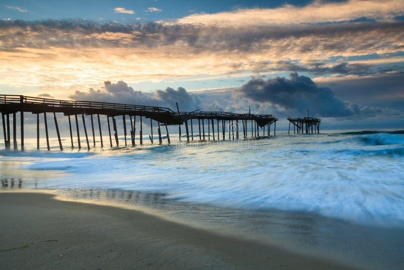 Ocean Sunrise Frisco Pier North Carolina Hatteras royalty free stock photos