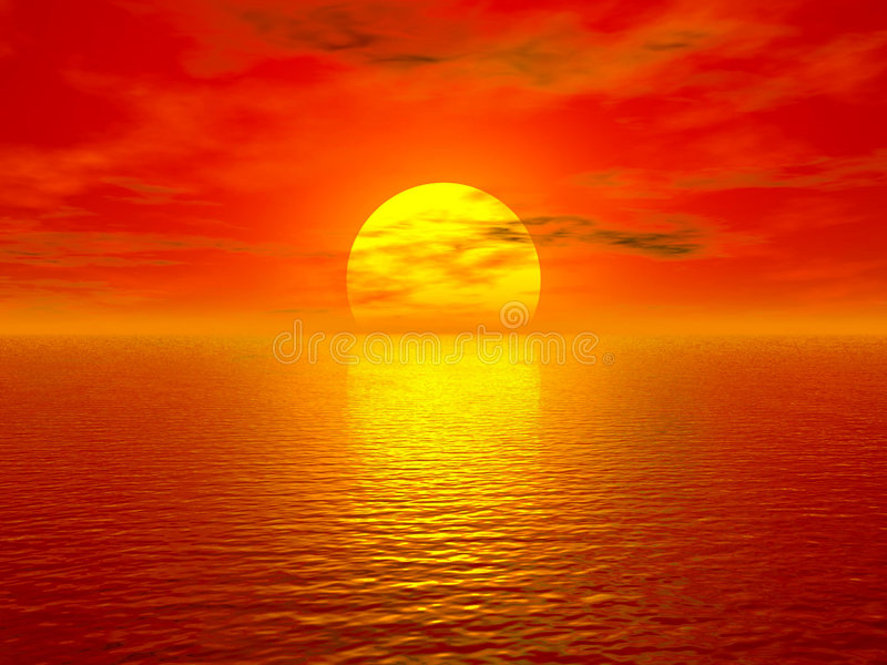 Ocean and sunset royalty free illustration