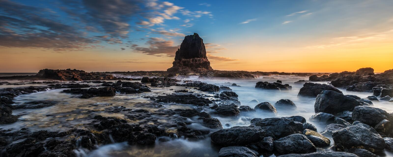 Ocean Sunset. Cape Schanck Pulpit Rock at low tide stock photos