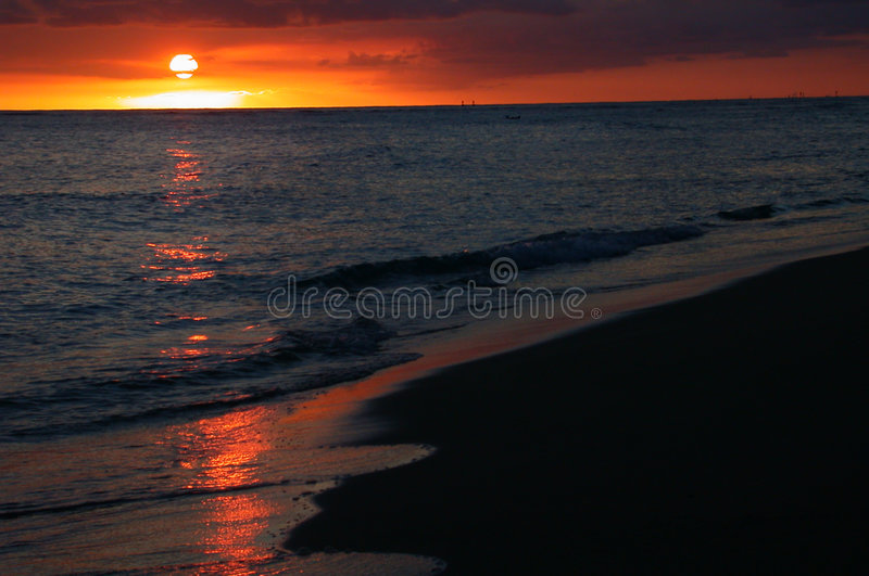 Ocean Sunset in Hawaii stock photo