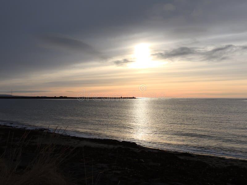 Ocean sunset. Ocean  sunset in the  Iceland stock photo