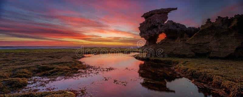 Ocean Sunset. Portsea Sunset by the Sierra Navada Rock stock photos