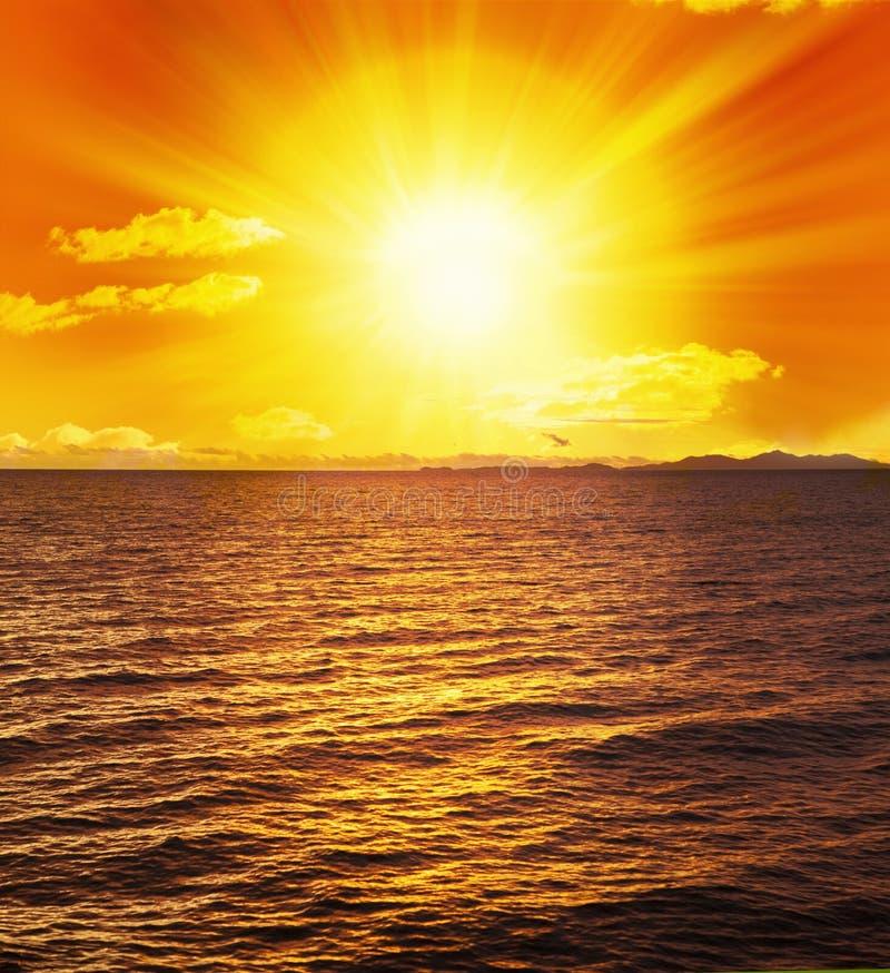 Ocean Sunset Sun Water Waves royalty free stock photos