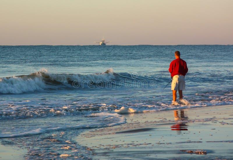 Surf Fisherman at Daybreak stock photography