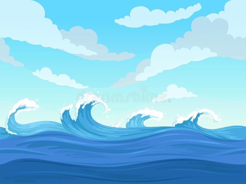 Ocean surface wave seamless. Underwater cartoon liquid pattern river and sea vector background stock illustration