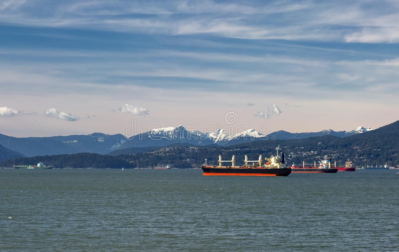 Ocean Tankers in Vancouver Harbor royalty free stock photos