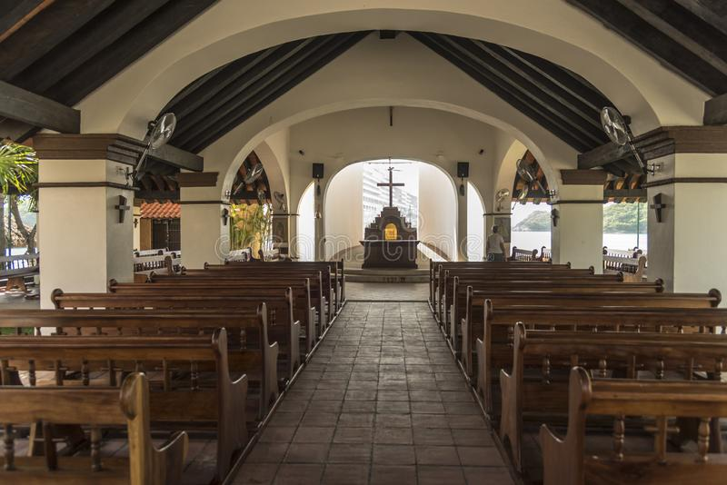 Open sided chapel in Santa Cruz Huatulco. Huatulco is a resort region in the Mexican state of Oaxaca with white Pacific coast beaches. The region is made up of royalty free stock photography