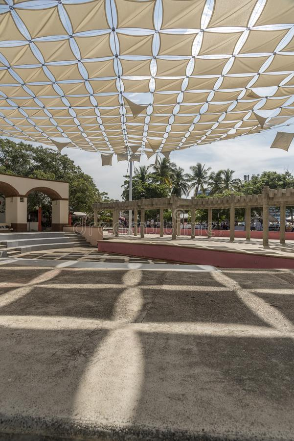 Plaza in Santa Cruz Huatulco Mexico. Huatulco is a resort region in the Mexican state of Oaxaca with white Pacific coast beaches. The region is made up of 9 stock photo