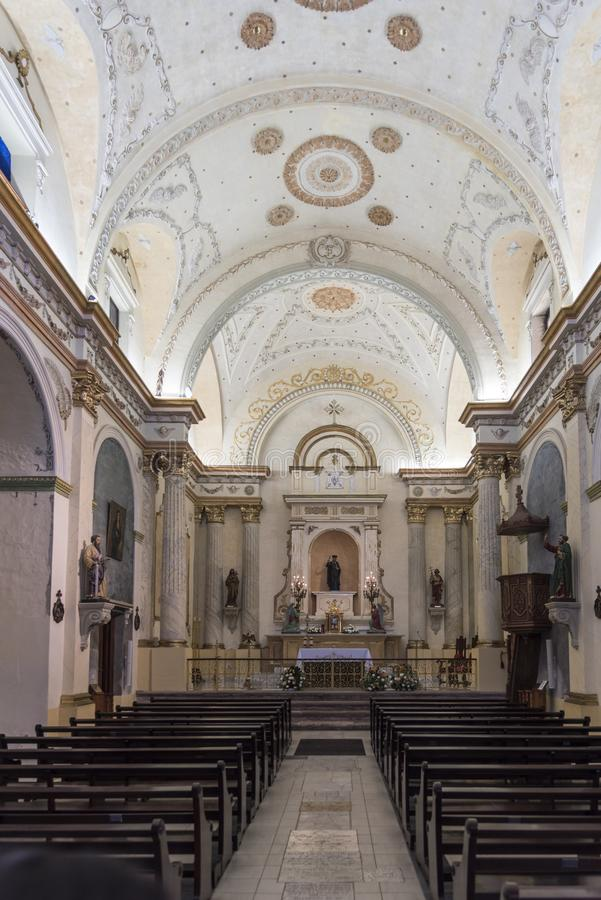Interior of the Iglesia La Merced, Old Town, Panama City, Panama. Small Casco Viejo church whose circa-1680 baroque facade is one of the city`s oldest stock image