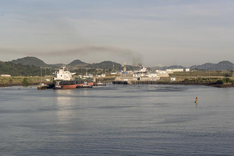 Hoveden Spirit entering the Cocolí Locks Panama Canal expansion stock photos