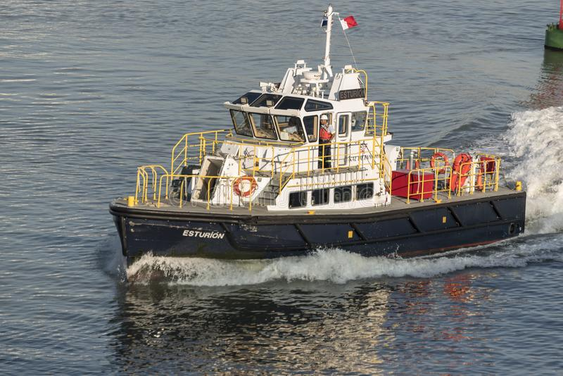 Panama Canal authority Pilot boat Esturion from Island Princess near the Panama Canal Locks royalty free stock images