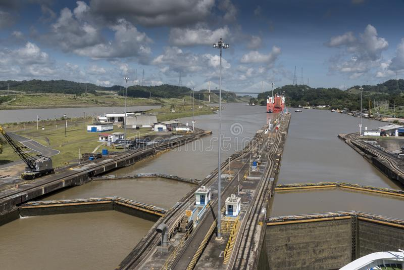Island Princess in the low water of the Miraflores Locks Panama Canal stock photography