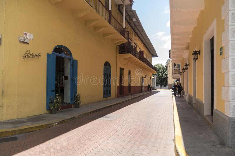 Street scene in the Old Town of Panama City stock photos
