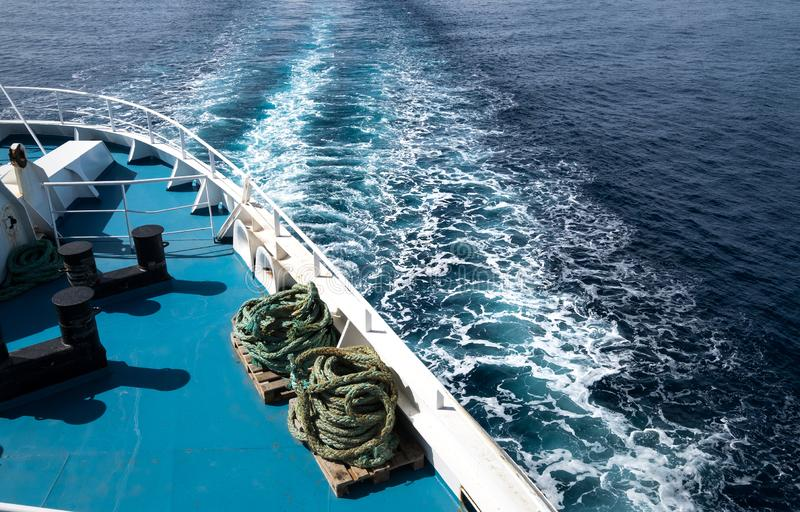 Ocean trail waves of cruise ship . Summer holidays vacation. Image stock photography