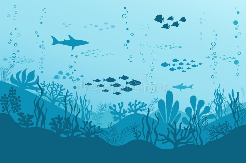 Ocean Underwater Background with Fishes, Sea plants and Reefs. Vector stock illustration