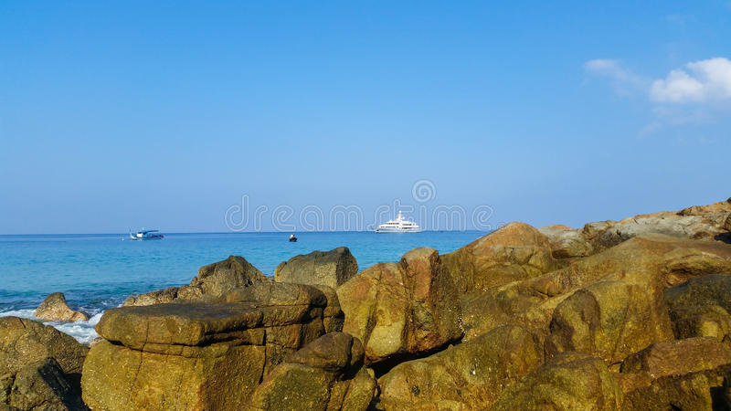 Ocean view with blue water and blue sky background stock photos