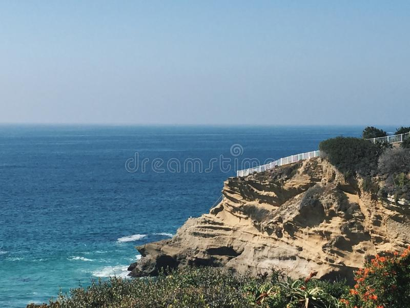 Ocean view with a cliff in California royalty free stock photo