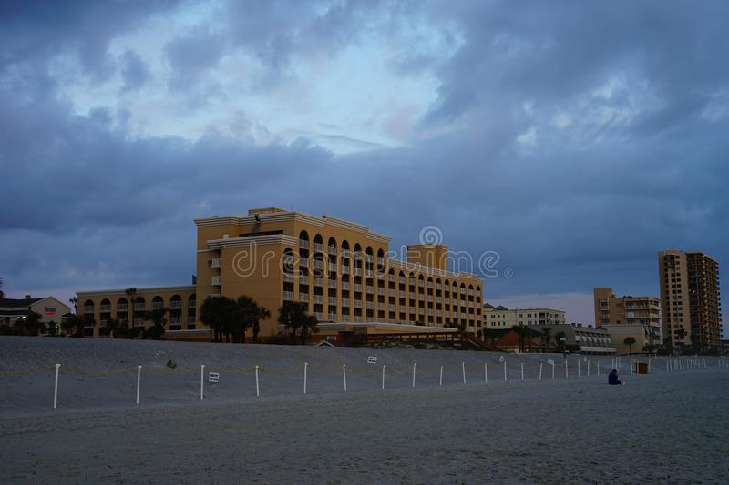 Jacksonville ocean view hotel. A ocean view hotel, taken in Jacksonville, florida royalty free stock photography