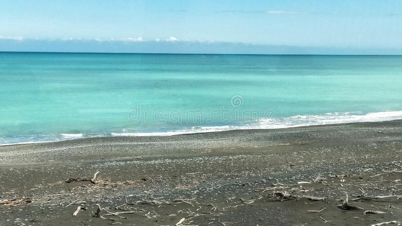 Ocean view from Kiwi Rail Scenic train travel along Kaikora coast. Ocean view from Kiwi Rail Scenic train travel. Coastal Pacific. Tourist attraction in New royalty free stock photography