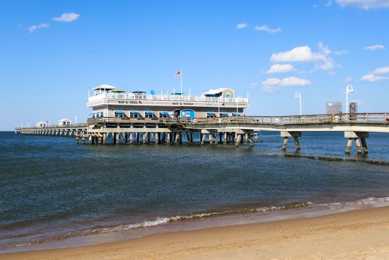 Ocean View Restaurant and Fishing Pier in Norfolk, VA royalty free stock image