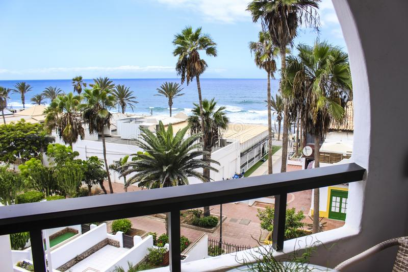 Ocean view room balcony palm trees royalty free stock images