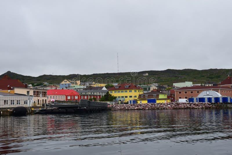 Ocean view towards the harborfront of Saint Pierre royalty free stock photo