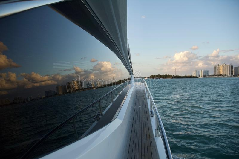 Ocean Views from Luxury Yacht in Miami. royalty free stock images