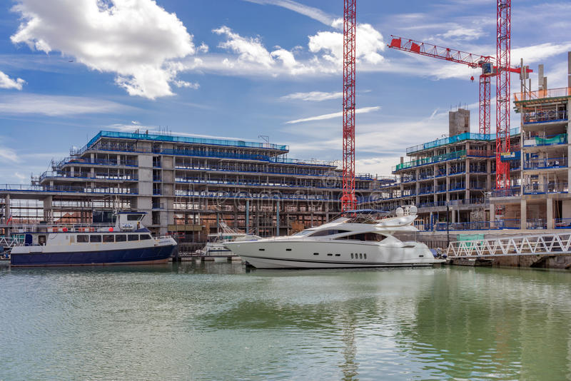Ocean Village Marina in Southampton. Southampton/UK. 21st August 2016. The Ocean Village Marina in Southampton is nearing the end of its 21 Century upgrade stock photos