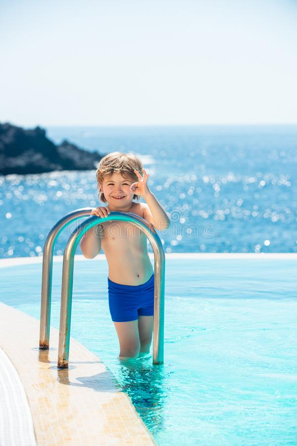 Ocean water background. Tropical guy. Luxury swimming pool. Relaxed on Bahamas or Bermuda. Traveling concept. royalty free stock photo