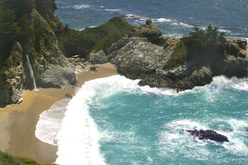 Ocean waterfall stock photography