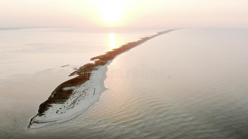 Ocean waterscape at sunset, aerial view. royalty free stock photo
