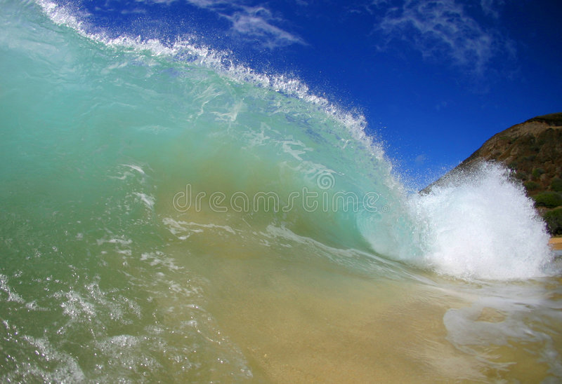 Ocean Wave. Stock photo of a tubing wave at Sandy Beach on the island of Oahu, Hawaii stock photo